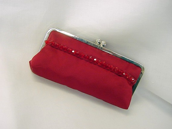 Classic red clutch with beading for extra pizzazz.