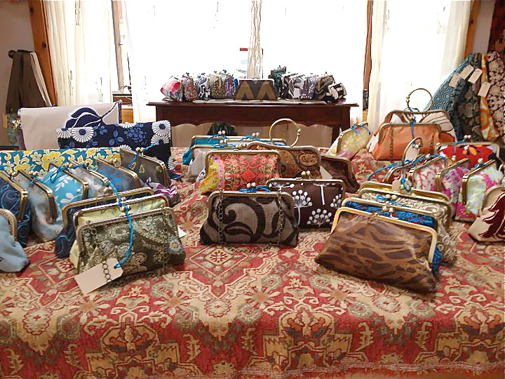 Susan's sumptuous table of clutches.  Look at all the variety of colors and textures!