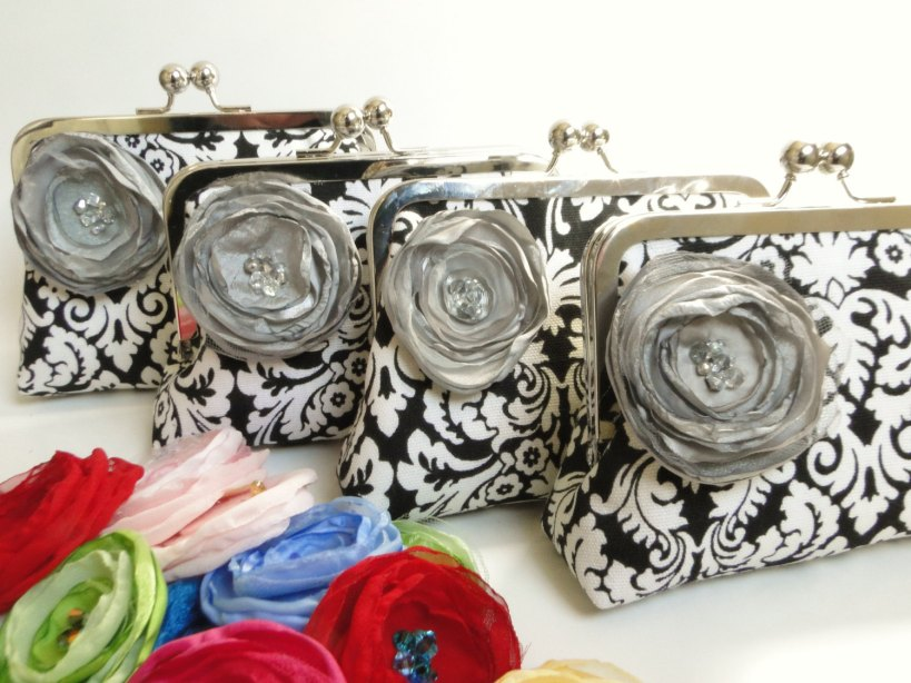 These bridesmaid clutches are embellished with Natalie's hand-made fabric flowers.