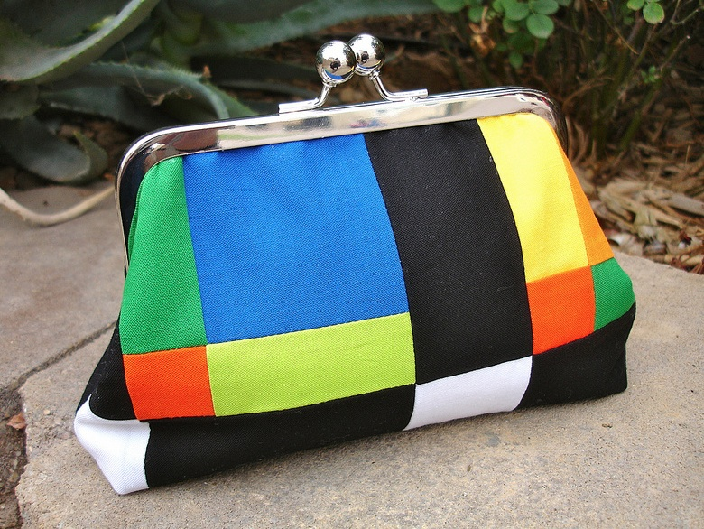 Elaine's colorful clutch!  Would be great with color-block a-line dress!