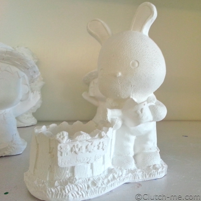 paint figurine bunny rabit water can