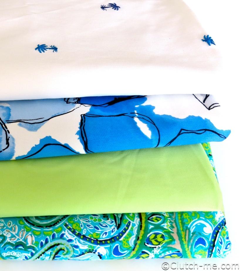 blue, white, green fabric