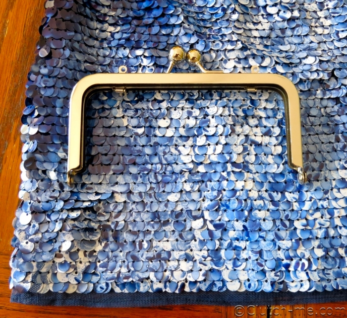 blue sequins skirt purse frame